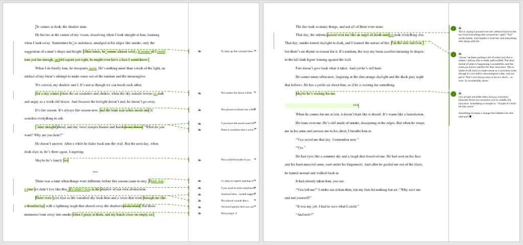 A screenshot of pages with editing markup (not legible) and comments