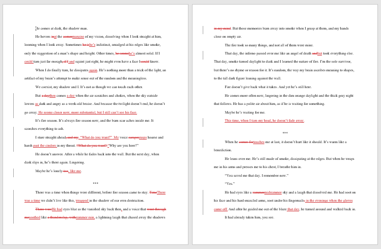 A screenshot of two pages with editing markup